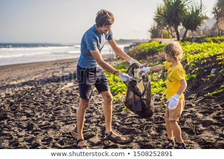 детей мусор острове иллюстрация Сток-фото © colematt