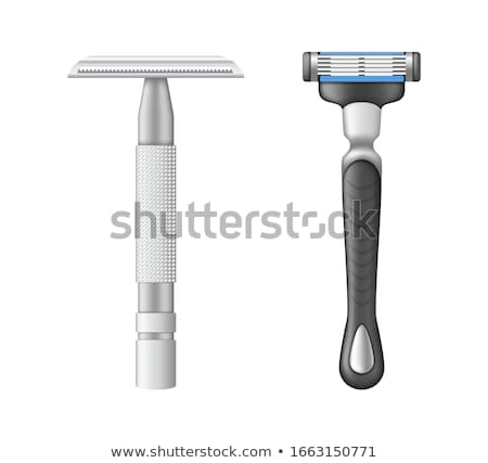 Stock fotó: Realistic Man Steel Shaving Razor For Face Vector