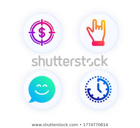 Clock and Chatting Boxes, Hand with Money Set Stock photo © robuart