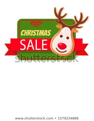 christmas sale greeting card gingerbread deer head stock photo © robuart
