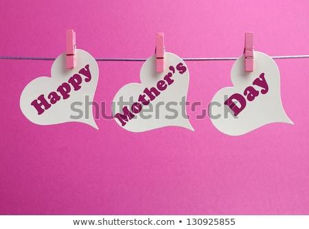 Mães dia saudação enforcamento corações mulher Foto stock © SArts