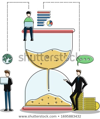 Hourglass Near Stack Of Coins Stock photo © AndreyPopov