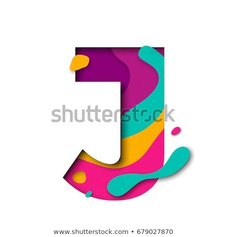 Multi color layers font Letter J 3D Stock photo © djmilic