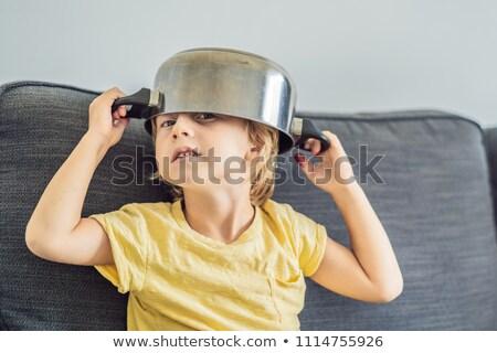 Chłopca puli głowie dzieciństwo gotować technologii Zdjęcia stock © galitskaya