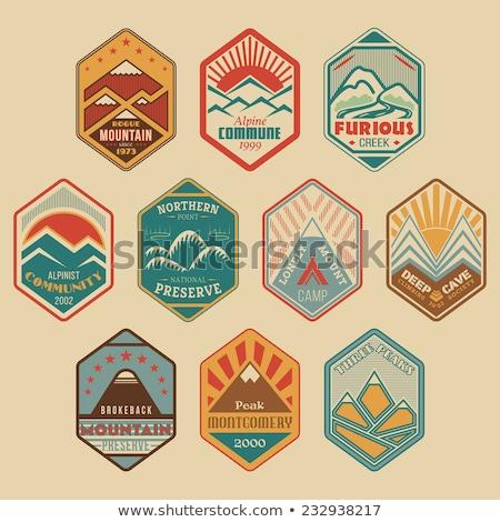 Kleur vintage alpinisme embleem ski resort Stockfoto © netkov1