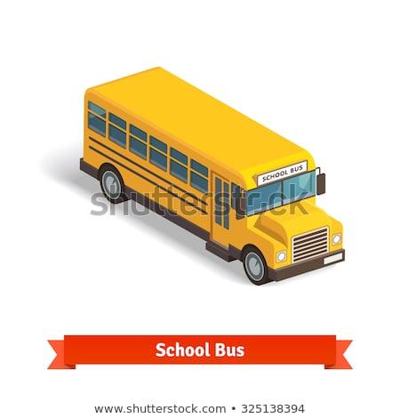 Izometrik okul otobüsü kısa uzun versiyon modern Stok fotoğraf © Genestro