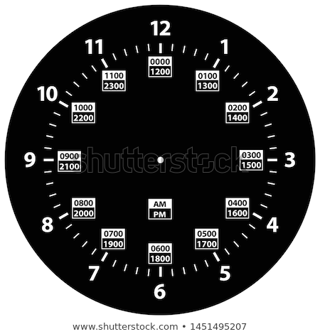 24 Hour Military Time and Standard Time Combo Clock, Black, Template Isolated Vector Illustration Stock photo © jeff_hobrath