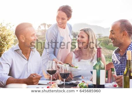 Paar diner wijngaard platteland huis Stockfoto © boggy