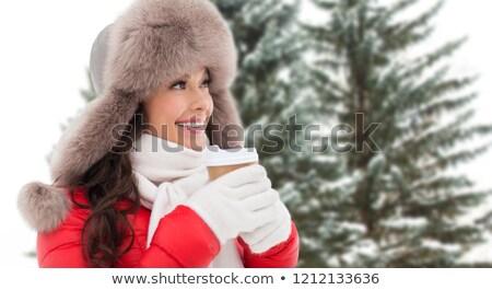 vrouw · bont · winter · hoed · koffie - stockfoto © dolgachov