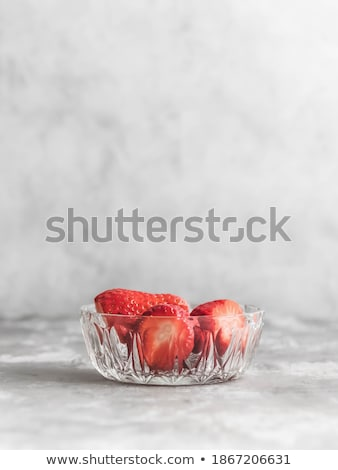 Strawberries in grey bowl. Fresh strawberries. Beautiful strawberries.  Stock photo © Illia