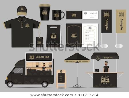 Cafe schrijfbehoeften coffeeshop branding vector Stockfoto © marish