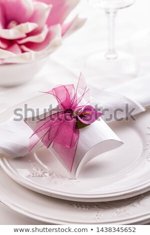 mooie · tabel · ingesteld · witte · pompoenen · natuurlijke - stockfoto © brebca