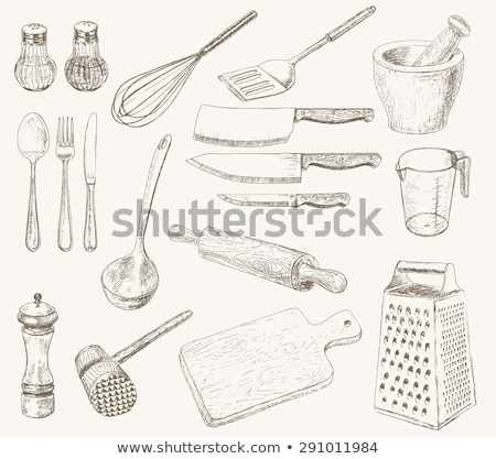 Vintage kitchen set. Set of meat cutting knife, fork, spoon Stock photo © FoxysGraphic