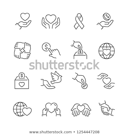 Stockfoto: Vrijwilligers · ondersteuning · persoon · vector · dun · lijn