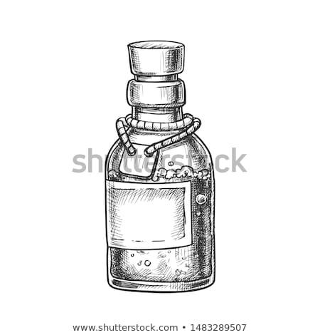 Bubbled Potion Liquid Bottle Monochrome Vector Stock photo © pikepicture