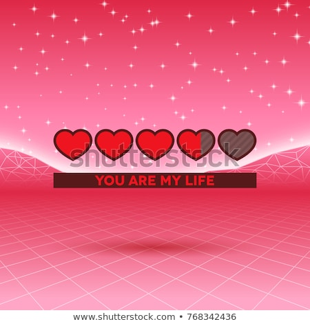 Valentines Day hearts of love themed retro game card with 80s styled neon landscape and life loading Stock photo © SwillSkill