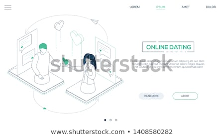 Online dating lijn ontwerp stijl isometrische Stockfoto © Decorwithme