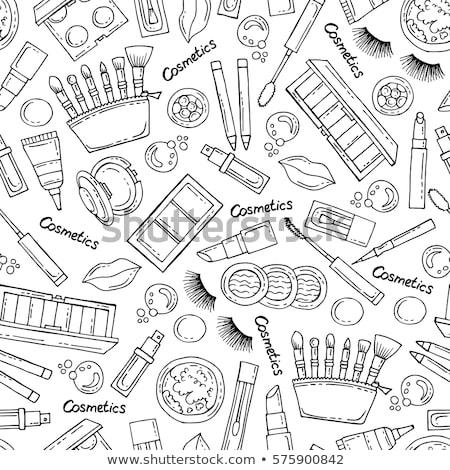 Seamless Pattern. Nail Polish. Powder. Lipstick. Stock photo © robuart