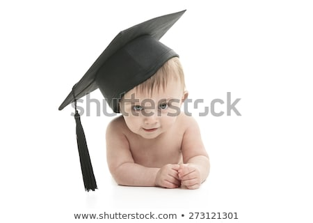 Portrait of a sitting baby with a graduation cap Stock photo © Lopolo