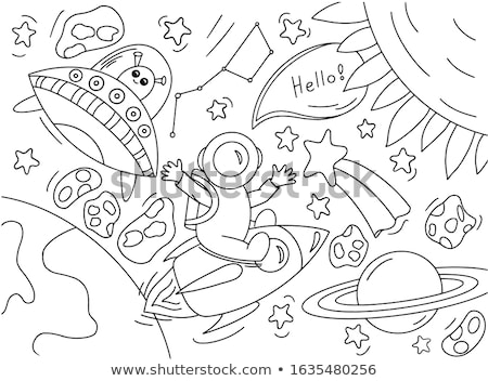 Kid Girl Astronomy Book Space Illustration Stock photo © lenm