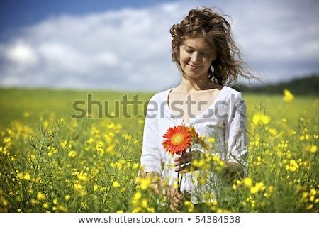 mulher · flores · vermelhas · campo · sorrindo · vestido · branco - foto stock © lichtmeister
