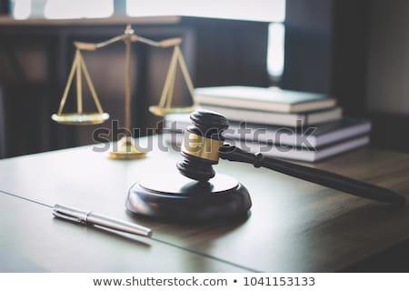правосудия · статуя · прав · книгах · молоток - Сток-фото © freedomz