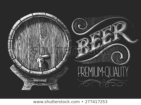 Drawn Old Oak Wooden Barrel For Beverage Color Vector Stock photo © pikepicture