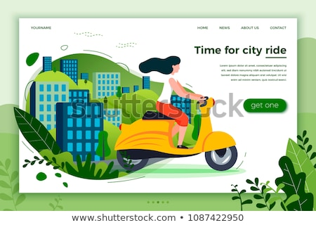 girl riding motorbike scooter and cityscape vector stock photo © robuart