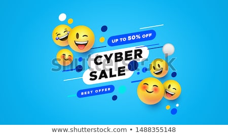 Happy smile yellow emoticon face in 3d background Stock photo © cienpies