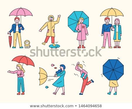 漫画 · を実行して · 傘 · 実例 · 面白い - ストックフォト © bennerdesign