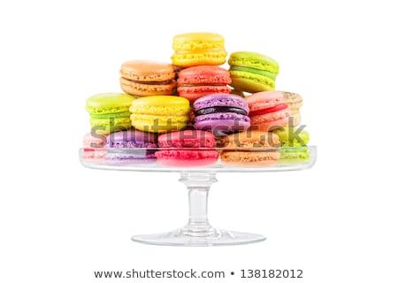 Rózsaszín macaronok üveg cukrászda áll édesség Stock fotó © dolgachov