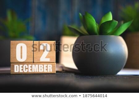 Kockák második december piros második fehér Stock fotó © Oakozhan