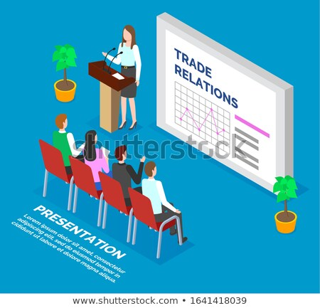 Woman Report to Audience About Trade Relations Stock photo © robuart