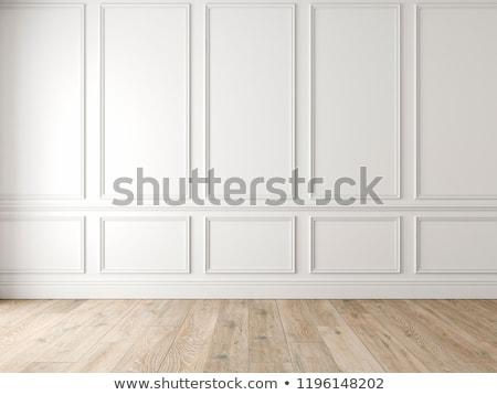 Black wall panels and white wooden floor 3D rendering Stock photo © sedatseven