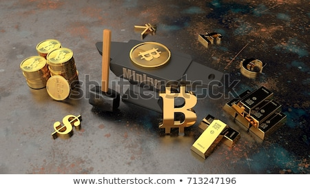 Bitcoin coins with hammer Stock photo © olira