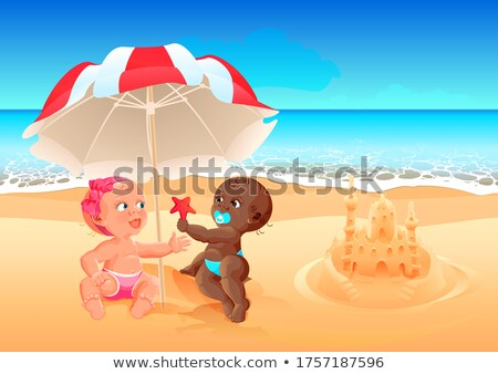 Interracial friendship white girl and black boy play together on beach. Summer holidays at sea with  Stock photo © orensila