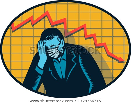 Depressed Businessman Pandemic Crisis Retro Woodcut Stock photo © patrimonio