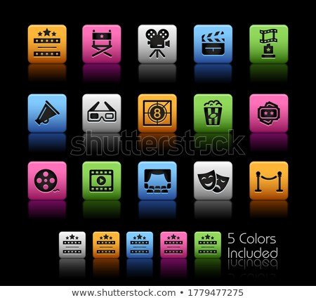 Filmindustrie theater iconen vector bestand kleur Stockfoto © Palsur