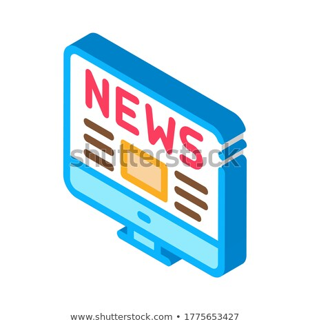 Világszerte hírek izometrikus ikon vektor felirat Stock fotó © pikepicture