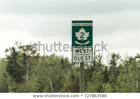 Stok fotoğraf: Kanada · otoyol · işareti · yüksek · karar · grafik · yeşil
