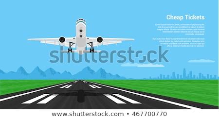 飛行機 離陸 デザイン 青 旅行 空港 ストックフォト © sahua