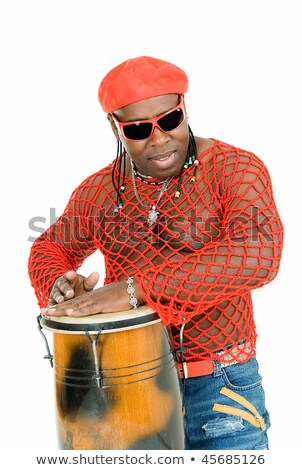 Bongo Black Isolated Over Red stock photo © mkm3