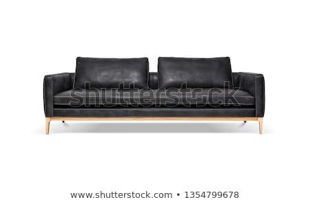 modern black leather sofa isolated Stock photo © ozaiachin