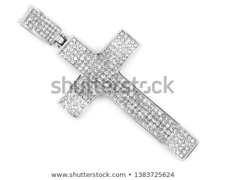 Diamant · Kruzifix · Silber · Diamanten · schwarz · Mode - stock foto © nicemonkey