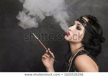 Stockfoto: Cabaret · dame · roken · sexy · zwarte · lingerie · sigaret