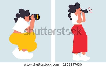 девушки фотограф dslr шум Sexy Сток-фото © nessokv