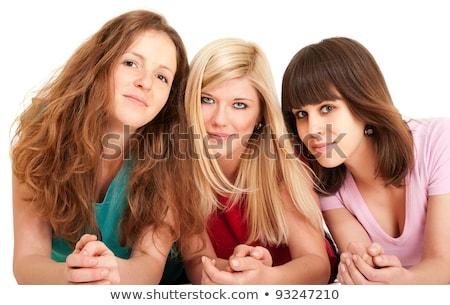 üç güzel esmer kızlar Stok fotoğraf © pekour