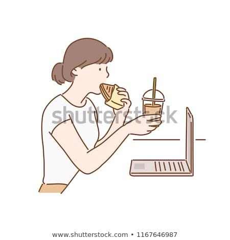 Vrouw drinken frisdrank bureau kantoor werk Stockfoto © photography33