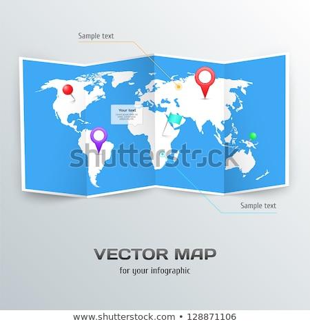 Wereldkaart papier vorm 3D dun ondiep Stockfoto © JohanH