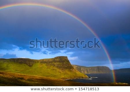 Rainbow · sopra · lago · nuvoloso · cielo · natura - foto d'archivio © broker